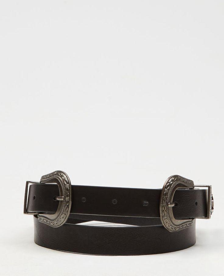 Ceinture double boucle noir