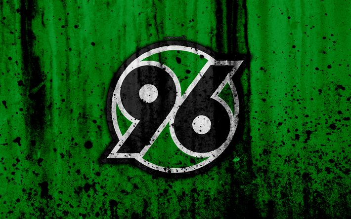 Download wallpapers FC Hannover 96, 4k, logo, Bundesliga, stone texture, Germany, Hannover 96, soccer, football club, Hannover 96 FC