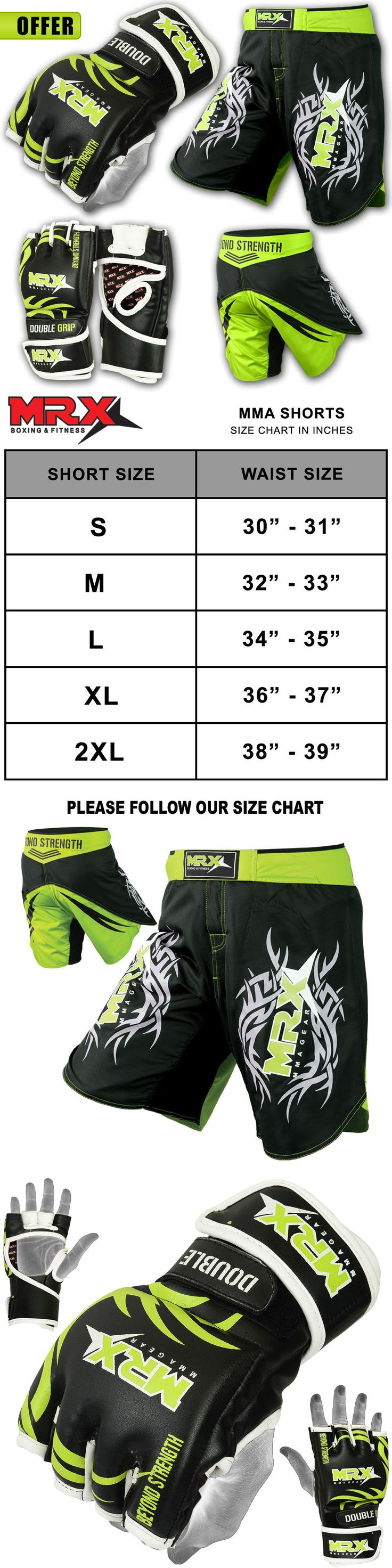 Shorts 73982: Mma Gloves Shorts Ufc Cage Grappling Kickboxing Fight Gear Set Black Green White BUY IT NOW ONLY: $49.99