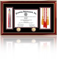 Diploma Frame - Double Medallion Diploma Frame with Graduation Tassel and Honors Cord Box