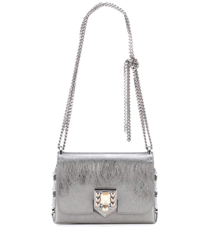 JIMMY CHOO Lockett Petite leather shoulder bag. #jimmychoo #bags #shoulder bags #lining #suede #