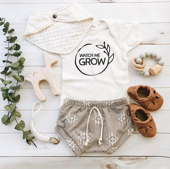 Watch Me Grow, Gender Neutral Coming Home Outfit, Organic Baby Outfit, Baby Clothes, Cute Baby Outfits, Gender Neutral Baby Shower Gift