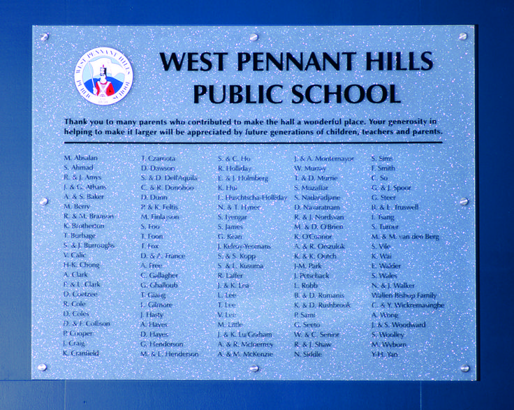 West Pennant Hills Public School #honourboard #recognition #acrylic #thankyou #school #sign
