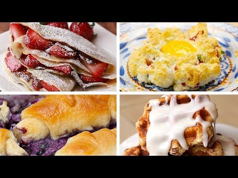 Top 10 tasty breakfast recipes. Blueberry croissant bake, waffles 4 ways cin roll;panini;pizza;brownie, cheesy baked hashbrown, scotch eggs.