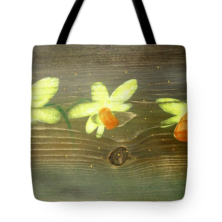 Rustic Tote Bag featuring the painting Rustic Daffodil by Lyssjart Sj