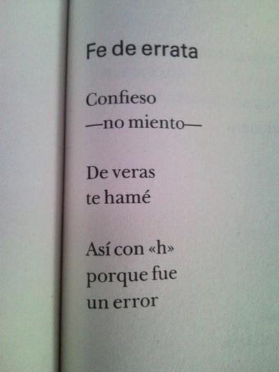 Fe de errata ( «El Amor a veces, El olvido entonces» de Rodolfo Quintero-Noguera)