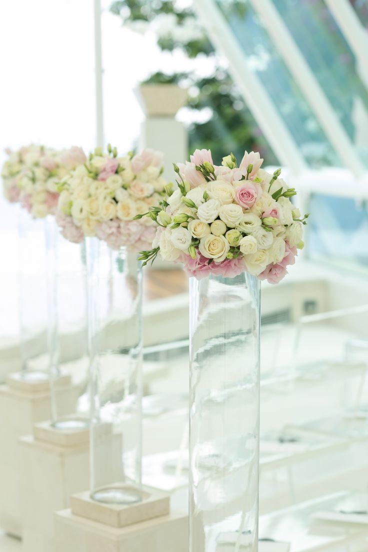 Rose, Lisanthus with Blush Pink Tulip & Hydrangea - posies along Aisle