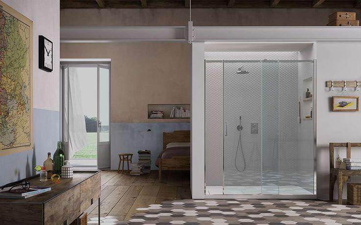 #Gliss di @vismaravetro è la collezione di cabine doccia con un inedito ed originale sistema ad ante scorrevoli. La scelta stilistica di un telaio essenziale si sposa con la innovativa soluzione tecnica degli organi di scorrimento. www.gasparinionline.it #madeinitaly #design #shower #weloveit #interiors #bagno