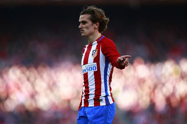 Antoine Griezmann of Atletico de Madrid reacts during the La Liga match between Club Atletico de Madrid and FC Barcelona at Vicente Calderon Stadium on February 26, 2017 in Madrid, Spain.