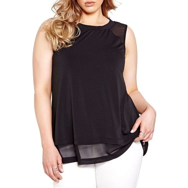 Addition Elle Michel Studio Layered Sleeveless Blouse ($45) ❤ liked on Polyvore featuring tops, blouses, black, sheer sleeveless blouse, sleeveless blouse, transparent tops, layered blouse and double layer blouse