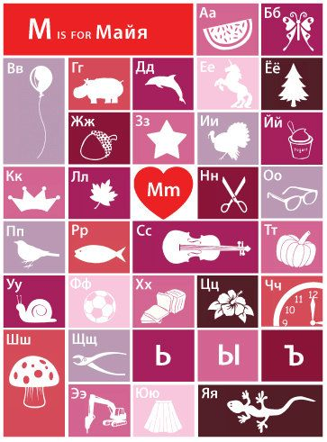 Kids name poster with Russian alphabet