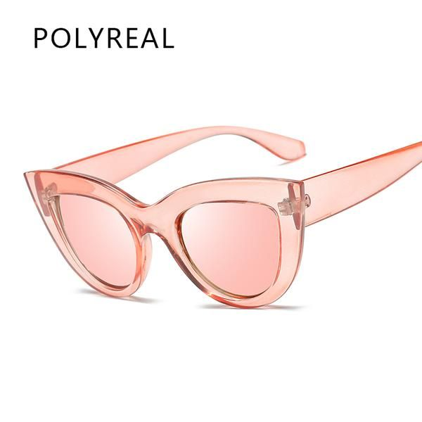 #FASHION #NEW POLYREAL New Women Cat Eye Sunglasses Fashion Mirror Cateye Sun Glasses for Ladies UV400