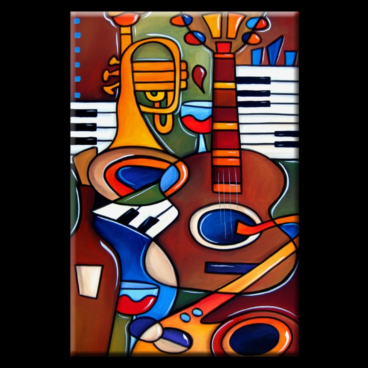 """ARTIST: Thomas C. FedroTITLE: Jam SessionSIZE:  24"""" x 36""""MEDIUM: AcrylicSUPPORT: 100% cotton, museum quality canvasSTRETCHED AND READY TO HANG DATE: New 2013"""