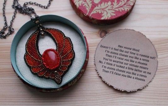 #handmade #necklace #malinabeadwork  #beadembroidery #beaded #embroidery #beads #jewelry #jewellery #phoenix #falloutboy #patrickstump