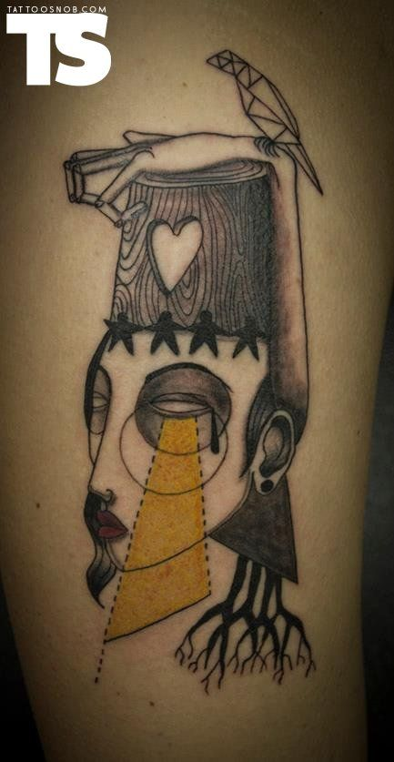 Art brut tattoo by Kev James at Expanded Eye in London