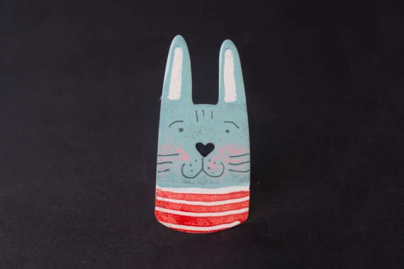 Illustrated Rabbit Brooch Rabbit Pin Animal Pin  by CinkyLinky