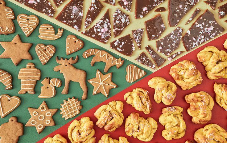 トフィー、ジンジャーブレッドクッキー、サフランパンを上から見た画像