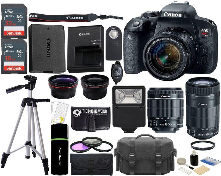 Canon EOS Rebel T7i DSLR Camera with 18-55mm  55-250mm IS STM Lens 48GB Bundle