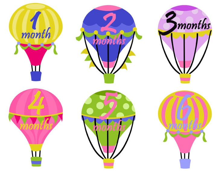 Monthly onesie stickers girl hot air balloons colorful patterned polka dots stripes waterproof baby shower gift