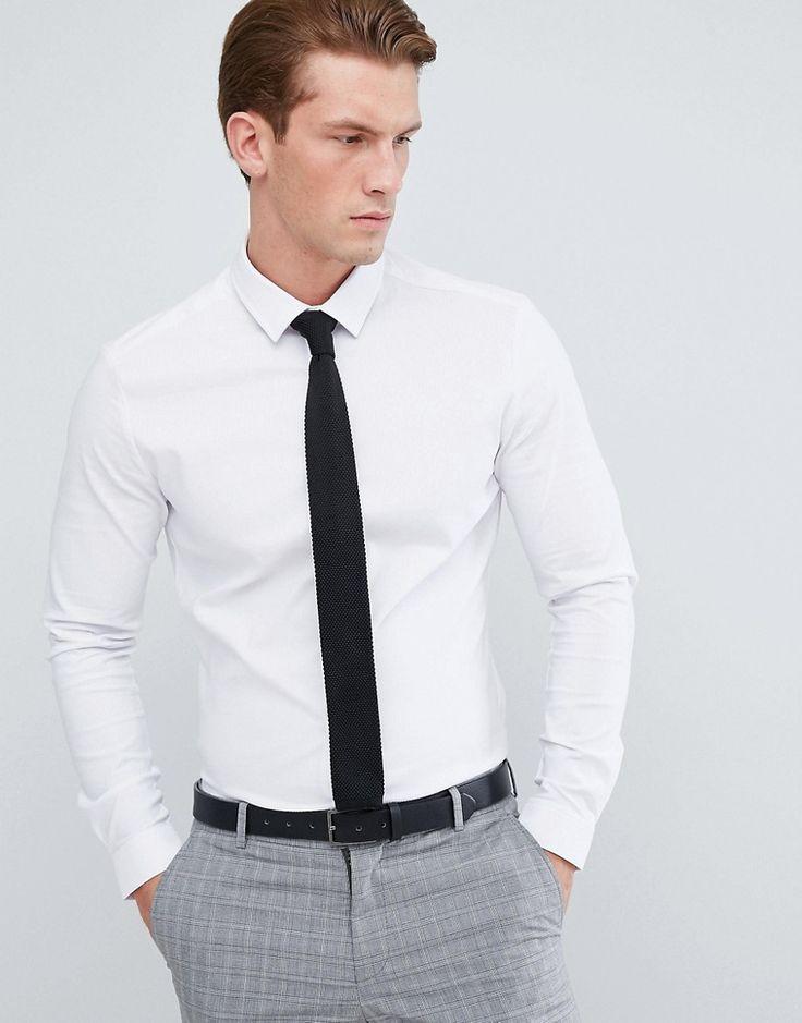 ASOS Skinny Herringbone Shirt - White