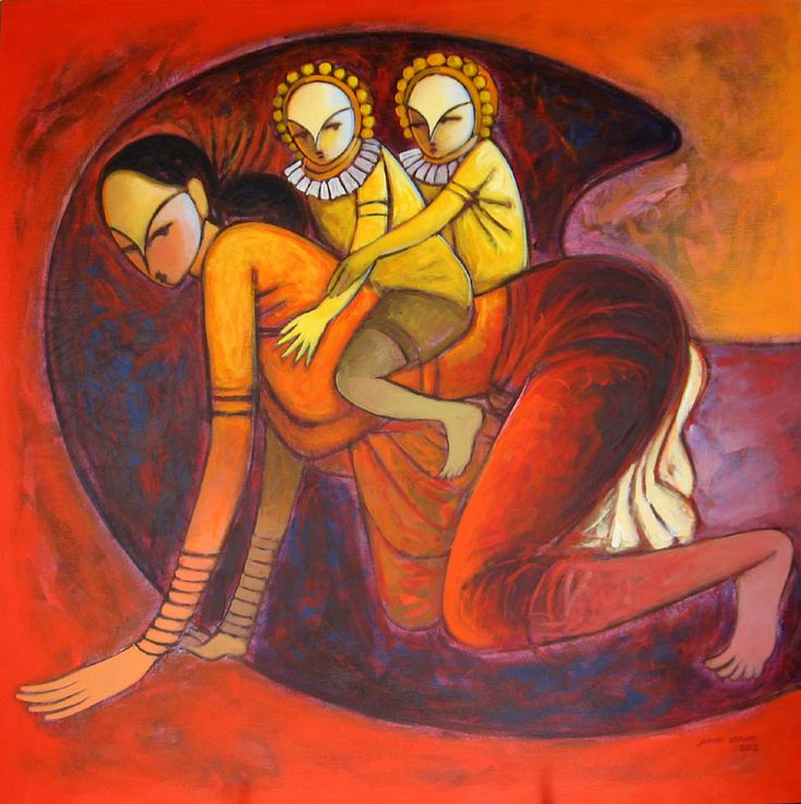 Mother and child, Indian art