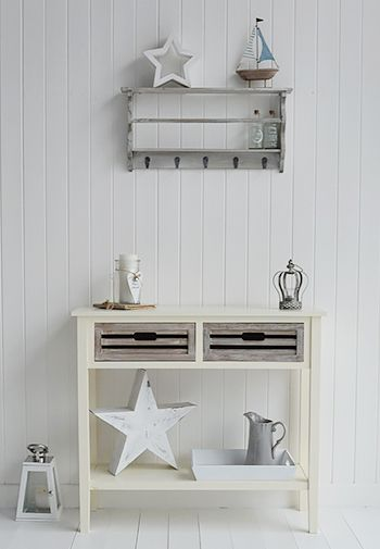 Norfolk Cream console table for hall furniture.Country cottage and coastal shabby chic hallway furniture from The White Lighthouse