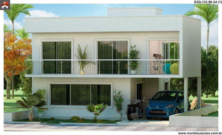 Planta de Sobrado - 3 Quartos - 133.96m² - Monte Sua Casa