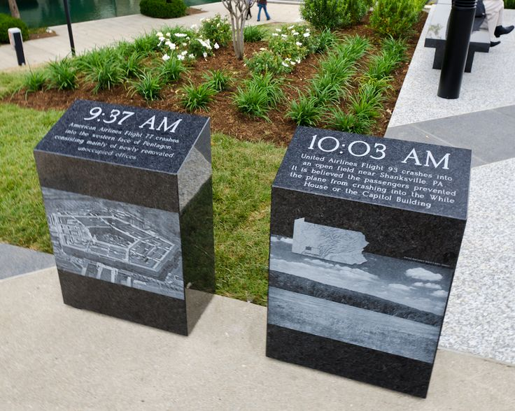 At 9:37 a.m. American Airlines Flight 77 hit the Pentagon. At 10:03 a.m. United Flight 93 hit the ground near Shanksville, Pennsylvania.