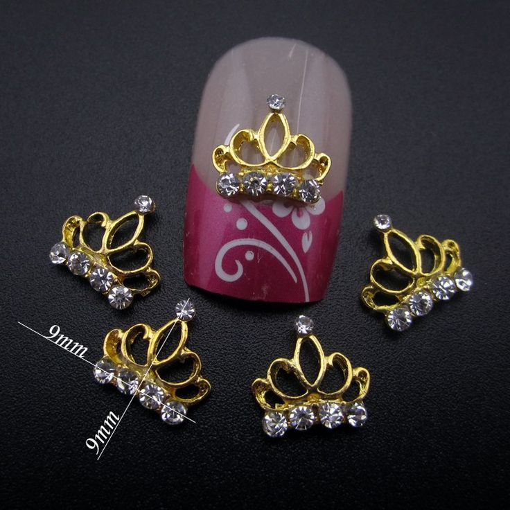 10pcs gold crown rhinestone nail design alloy 3d nail art supplies decorations accessories YNS100
