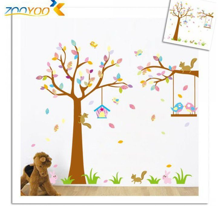 New Design 190*170cmXL Colourful Tree Birds Squirrel Animal Wall Sticker  Wallpaper For Kids Nursery Part 93