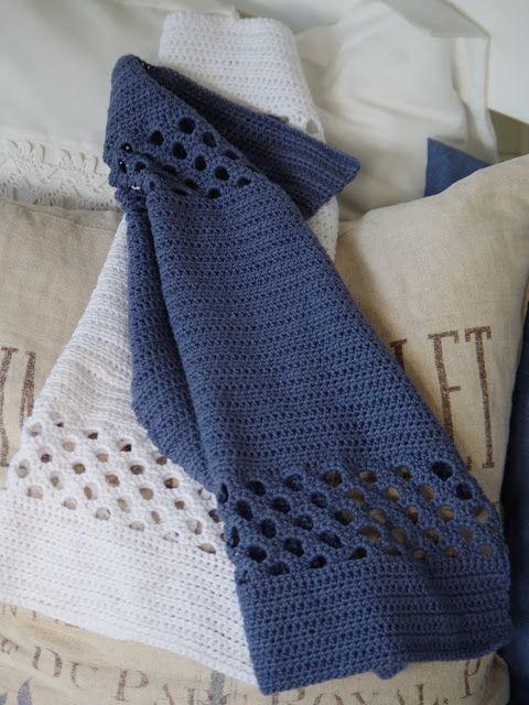 Hæklede håndklæder med hulmønster