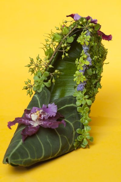 botanical shoe with mask leaves, orchid 1, Françoise Weeks Joni Photo