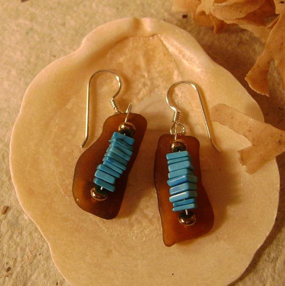 Brown sea glass earrings with turquoise by IrisDesignSeaglass, $48.00