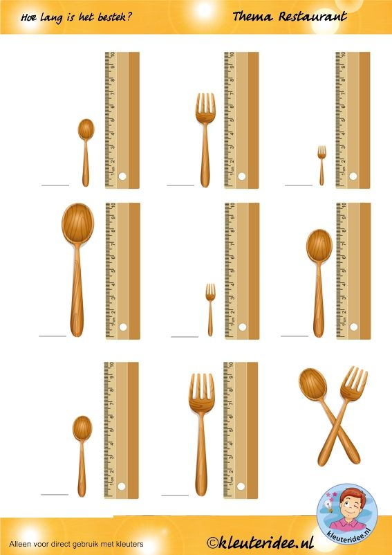Hoe lang is het bestek, thema restaurant, juf Petra van kleuteridee, how long are the fork and spoon, restaurant theme, free printable