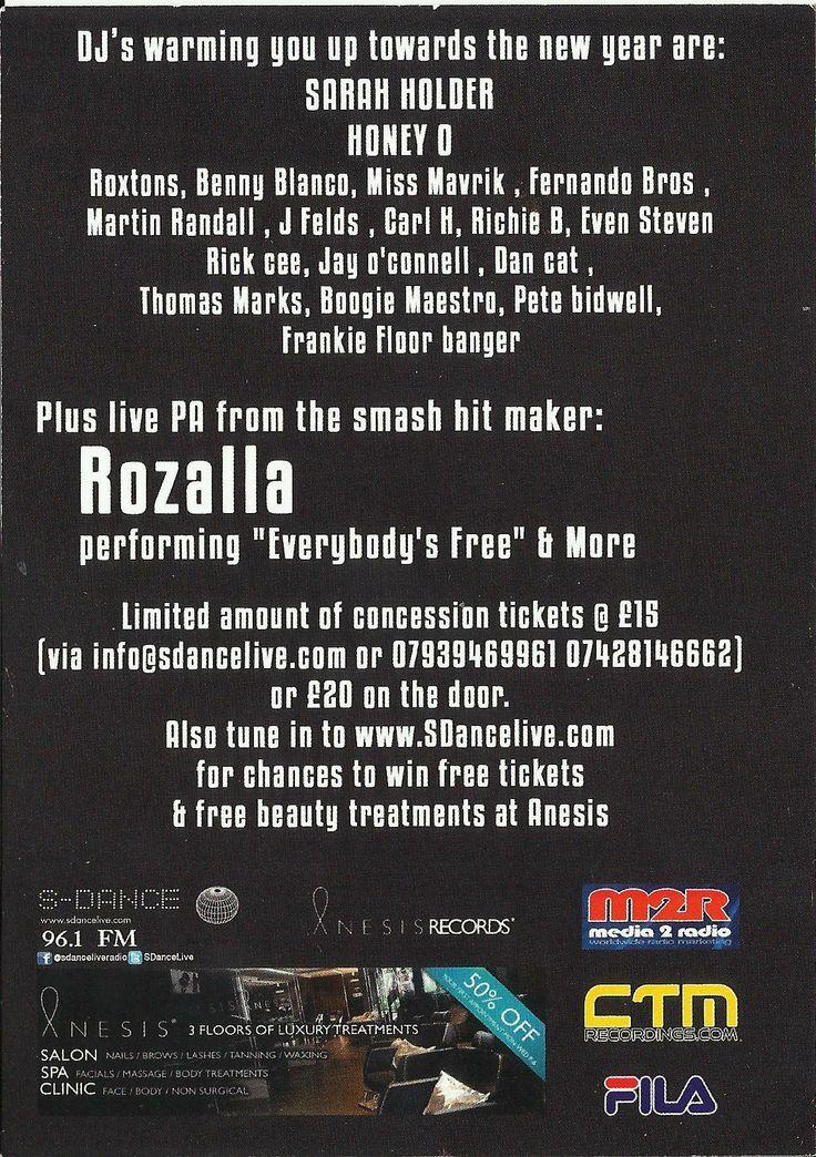 "#SEDJUICED @#BAR642 CLAPHAM #LONDON #DJs #FernandoBros #SarahHolder #HoneyO #Roxtons #BennyBlanco #MissMavrick #MartinRandall #JFields #CarlH #RichieB #EvenSteven #Rickee #JayO'Connell #DanCat #ThomasMarks #BoogieMaestro #PeteBidwell #FrankieFloorBanger …. Plus Live PA from #Rozalla performing ""Everybody's Free"""
