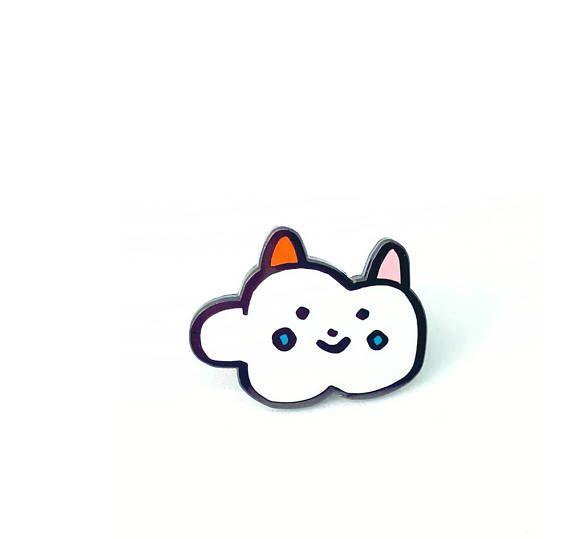 Cat cloud enamel pin