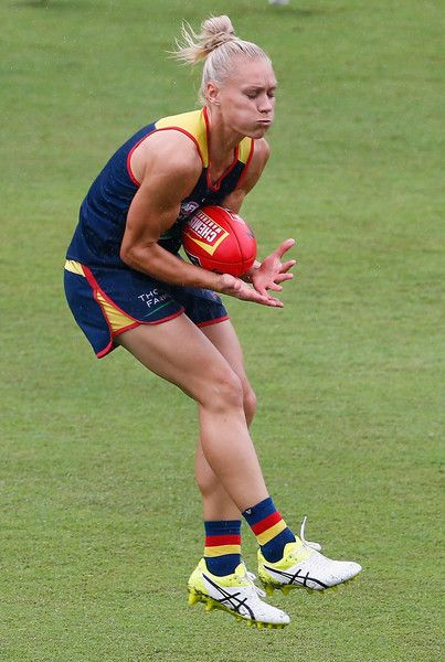 Erin Phillips in action during an AFL Women's Adelaide Crows training session at Metricon Stadium on March 24, 2017 in Gold Coast , Australia.