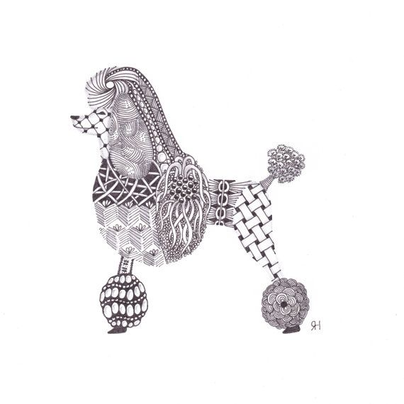 Poodle dog illustrated greetings card by SelfRaisingFlower on Etsy, £1.80