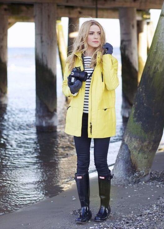 galocha e capa de chuva são uma ótima opção para looks em dias de chuva