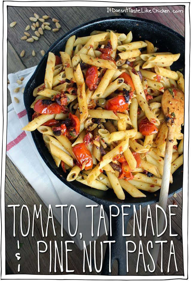 Tomato, Tapenade & Pine Nut Pasta. All you need tapenade, some cherry tomatoes, and some pine nuts and you end up with this glorious pasta dish. Such a simple weeknight meal, and it taste like you should be sitting in a tiny cafe in the heart of Italy. #itdoesnttastelikechicken