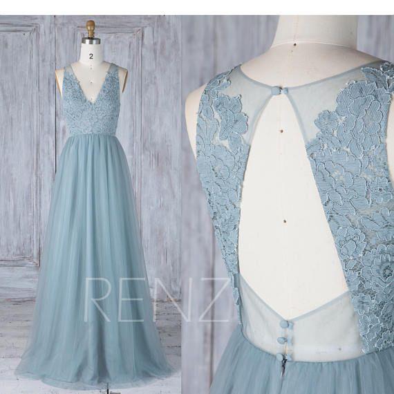 Bridesmaid Dress Dusty Blue Tulle V Neck Illusion Lace Wedding