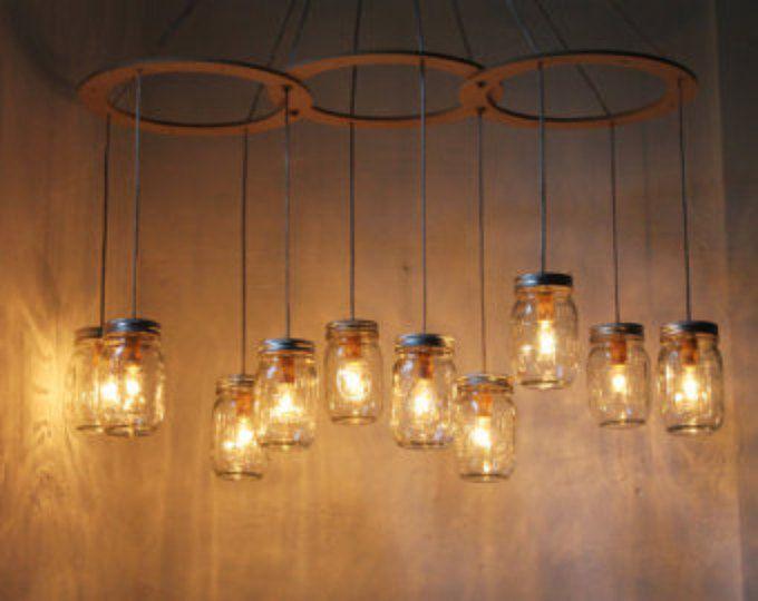 Mason Jar kroonluchter verlichting armatuur, grote rustieke Mason Jar hanglamp, 10 potten, BootsNGus verlichting en Decor van het huis, bollen opgenomen