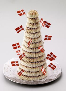 """""""Kransekage"""" Marzipan ring cake, served at New Year's Eve and other festive occasions."""
