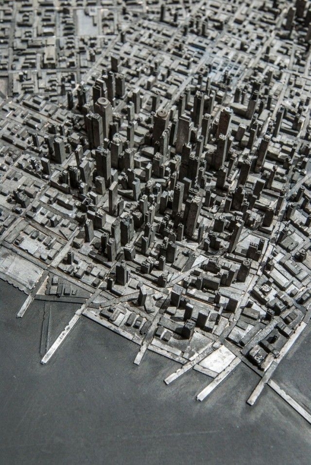 a miniature city built with metal typography: Miniatures, Cityscapes, Prints Press, Types Cities, Letter Pressed, Letters Press, Hong Seon, Metals Building, Seon Jang