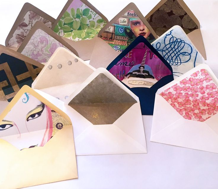 Envelope liners created from wallpaper, magazine pages and wrapping paper | designsgirl