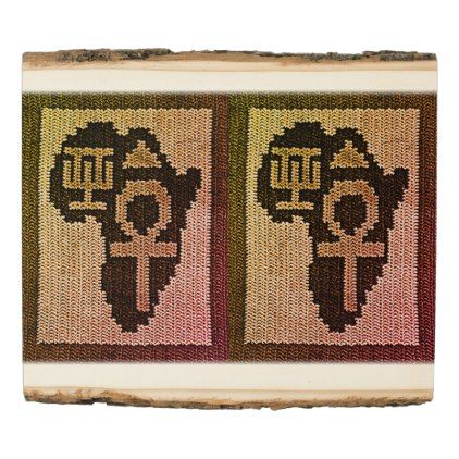 #rustic - #Africa Symbols Crochet Print Wood with Bark Edges