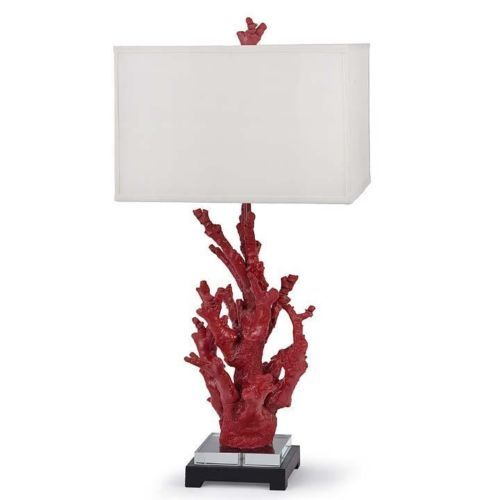 """RED CORAL TABLE LAMP, Bedroom Or Living Room, 31"""" H X 15"""