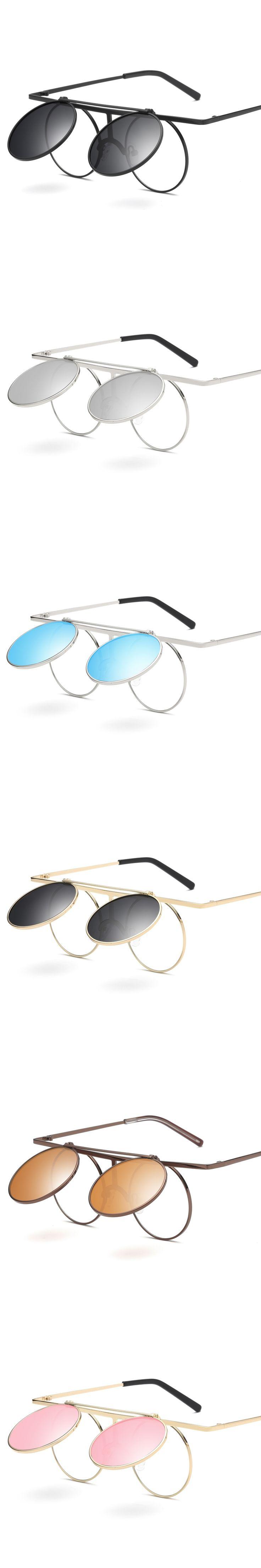 Stylish Steampunk Flip Sunglasses Round Designer Steam Punk Metal Polarized Sunglasses Retro Circle Sun Glasses for Women Men