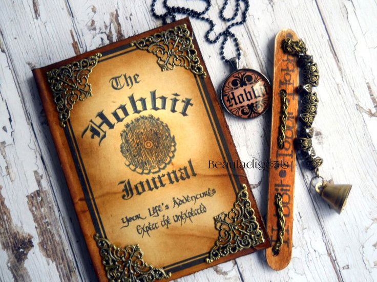 Hobbit Journal, Wood Chain and Bell Bookmark & Pendant Handmade Gift Set