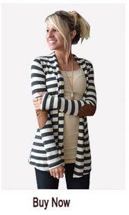 Aliexpress.com: Comprar 2015 mujeres del otoño largo de la manga rebecas negro blanco Stripped escudo outwear Femme abrigos camisas casual chaquetas manteau de abrigos de mujer nueva imagen de fiable proveedores en Beauty Ahead
